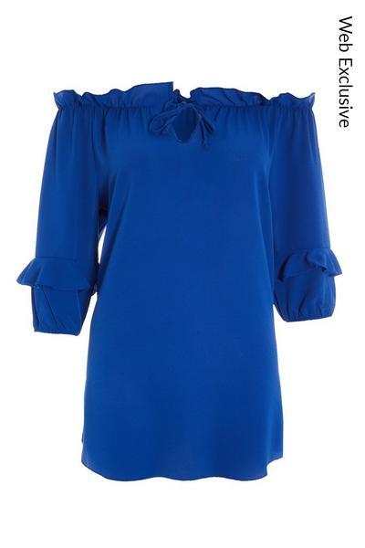 Blue Tie Bardot Top